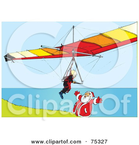 Royalty-Free (RF) Clipart Illustration of a Paraglider Flying Towards Santa On A Coastal Cliff by Snowy