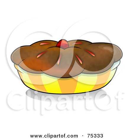 Royalty-Free (RF) Clipart Illustration of a Chocolate Crusted Pie Or Muffin In A Yellow And Orange Wrapper by YUHAIZAN YUNUS