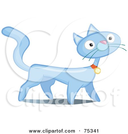 Royalty-Free (RF) Clipart Illustration of a Prancing Blue Cat by Frisko