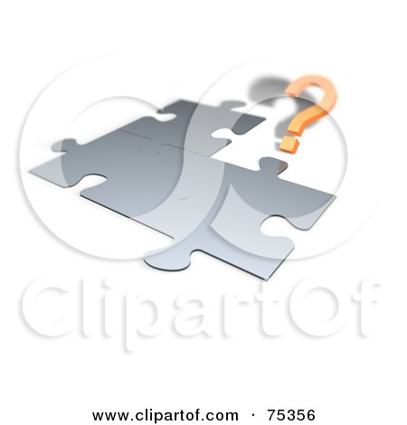 Royalty-Free (RF) Clipart Illustration of a 3d Orange Question Mark By A Chrome Jigsaw Puzzle On White by MacX