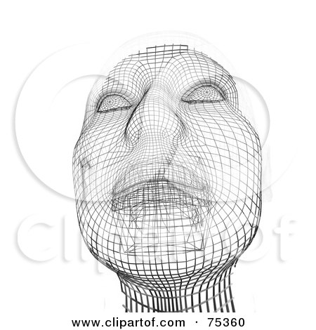 Royalty-Free (RF) Clipart Illustration of a 3d Wire Framed Face Over White by MacX