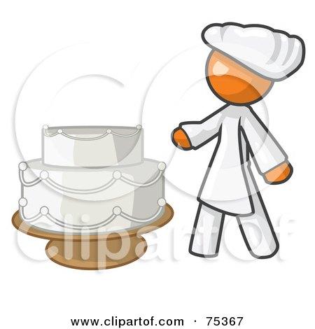 RoyaltyFree RF Clipart Illustration of an Orange Woman Wedding Cake Maker