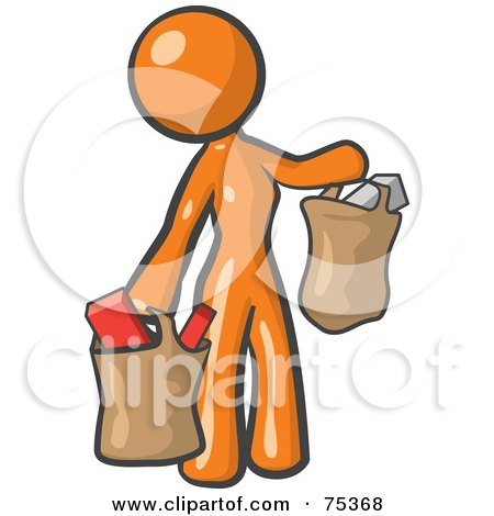Royalty-Free (RF) Clipart Illustration of an Orange Woman Carrying Paper Grocery Bags by Leo Blanchette