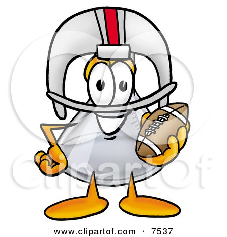 Clipart Picture of an Erlenmeyer Conical Laboratory Flask Beaker Mascot Cartoon Character in a Helmet, Holding a Football by Toons4Biz