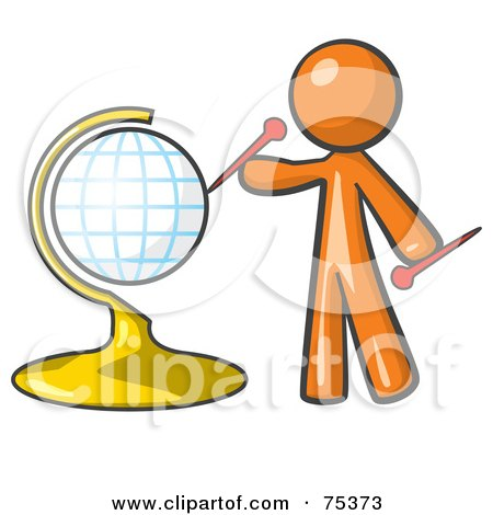 Royalty-Free (RF) Clipart Illustration of an Orange Man Inserting Pins On A Globe by Leo Blanchette