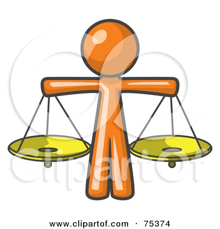 Royalty-Free (RF) Clipart Illustration of an Orange Man Scales Of Justice With Two Gold Scales by Leo Blanchette