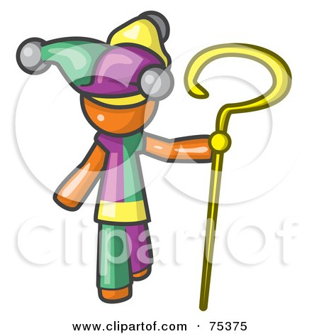 Royalty-Free (RF) Clipart Illustration of an Orange Man In A Jester Costume, Holding A Yellow Staff by Leo Blanchette