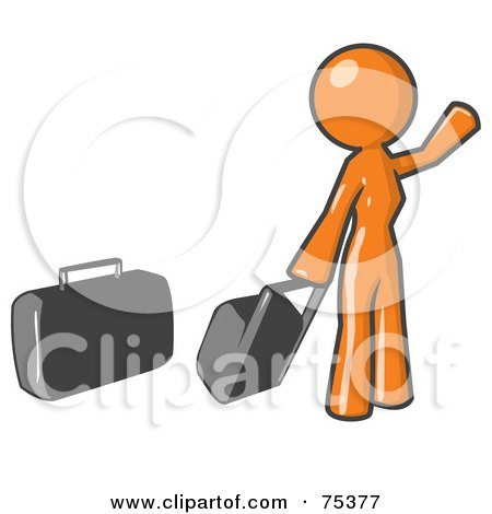 Royalty-Free (RF) Clipart Illustration of an Orange Woman With Luggage, Waving For A Taxi by Leo Blanchette