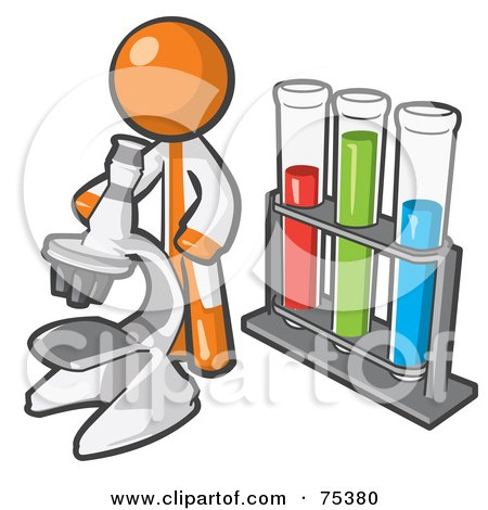 Royalty-Free (RF) Clipart Illustration of an Orange Man Scientist Using A Microscope By Vials by Leo Blanchette