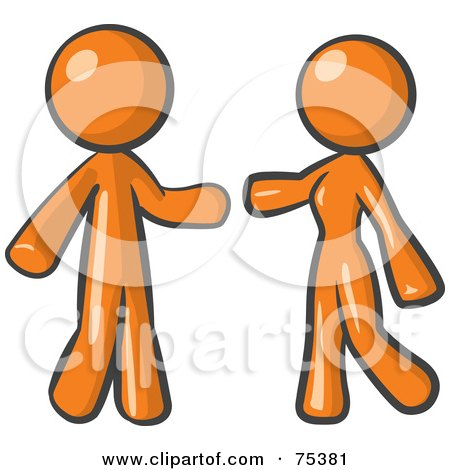 Royalty-Free (RF) Clipart Illustration of an Orange Man And Woman Preparing To Embrace by Leo Blanchette