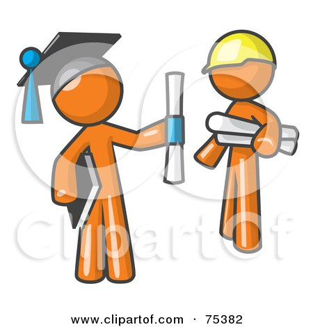 Royalty-Free (RF) Clipart Illustration of an Orange Man Graduate And Orange Man Contractor by Leo Blanchette