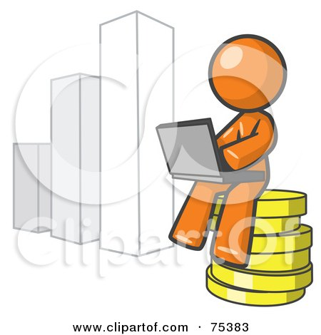 Royalty-Free (RF) Clipart Illustration of an Orange Man Sitting On Coins And Using A Laptop By A Bar Graph by Leo Blanchette