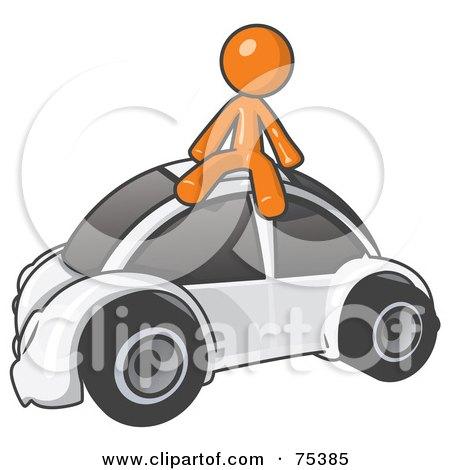 Royalty-Free (RF) Clipart Illustration of an Orange Man Sitting On Top Of A Slug Bug by Leo Blanchette
