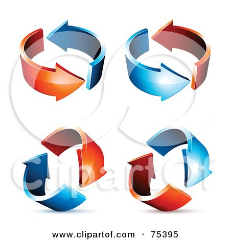 Royalty-Free (RF) Clipart Illustration of a Digital Collage Of Circling Blue And Red Arrows At Different Angles by beboy