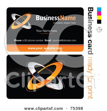 Royalty-Free (RF) Clipart Illustration of a Business Card Template Of Orange And Chrome Rings On Black by beboy