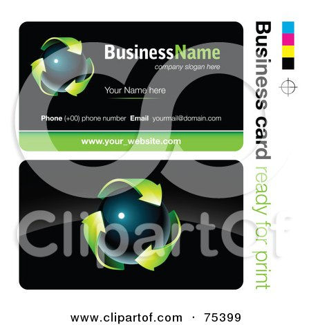 Royalty-Free (RF) Clipart Illustration of a Business Card Template Of A Dark Orb With Green Arrows On Black by beboy