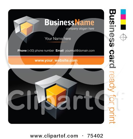 Royalty-Free (RF) Clipart Illustration of a Business Card Template Of A Chrome And Orange Cube On Black by beboy