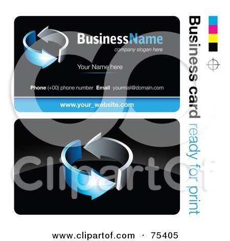Royalty-Free (RF) Clipart Illustration of a Business Card Template Of Circling Chrome And Blue Arrows On Black by beboy