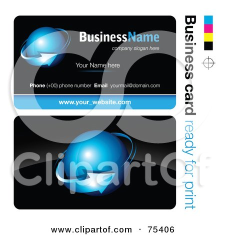 Royalty-Free (RF) Clipart Illustration of a Business Card Template Of A Blue Arrow Around A Blue Orb On Black by beboy