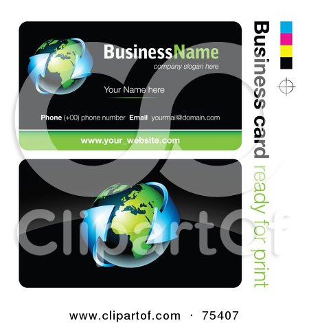 Royalty-Free (RF) Clipart Illustration of a Business Card Template Of Blue Arrows Around Earth On Black by beboy