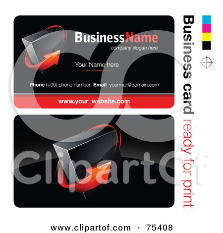 Royalty-Free (RF) Clipart Illustration of a Business Card Template Of A Red Arrow Around A Cube On Black by beboy