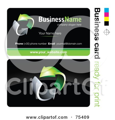 Royalty-Free (RF) Clipart Illustration of a Business Card Template Of Circling Chrome And Green Arrows On Black by beboy