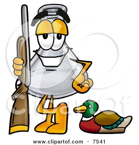 Clipart Picture of an Erlenmeyer Conical Laboratory Flask Beaker Mascot Cartoon Character Duck Hunting, Standing With a Rifle and Duck by Toons4Biz