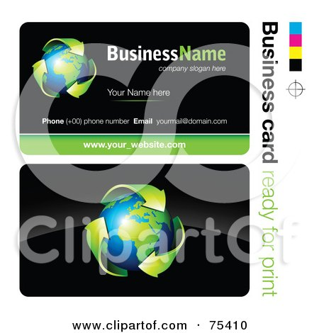 Royalty-Free (RF) Clipart Illustration of a Business Card Template Of Green Arrows Around Earth On Black by beboy