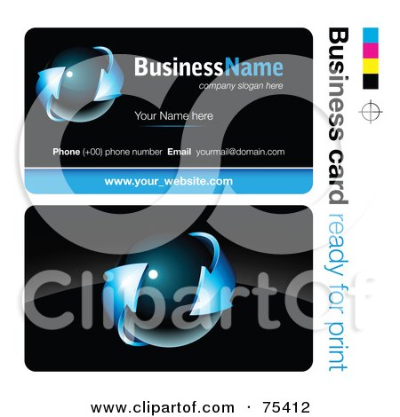 Royalty-Free (RF) Clipart Illustration of a Business Card Template Of A Dark Orb With Blue Arrows On Black by beboy