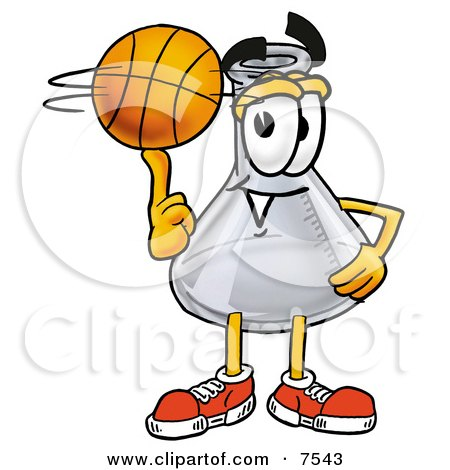 Clipart Picture of an Erlenmeyer Conical Laboratory Flask Beaker Mascot Cartoon Character Spinning a Basketball on His Finger by Toons4Biz