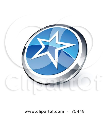 Royalty-Free (RF) Clipart Illustration Of A Round Blue And Chrome 3d Star Web Site Button by beboy