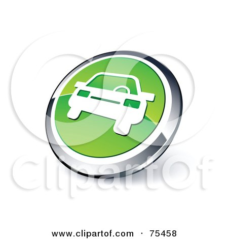 Royalty-Free (RF) Clipart Illustration Of A Round Green And Chrome 3d Automobile Web Site Button by beboy