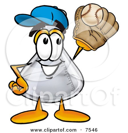 Clipart Picture of an Erlenmeyer Conical Laboratory Flask Beaker Mascot Cartoon Character Catching a Baseball With a Glove by Toons4Biz