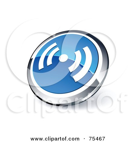 Royalty-Free (RF) Clipart Illustration Of A Round Blue And Chrome 3d RSS Web Site Button by beboy