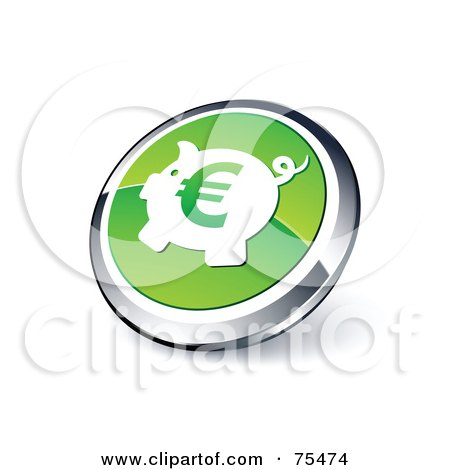 Royalty-Free (RF) Clipart Illustration Of A Round Green And Chrome 3d Euro Piggy Bank Web Site Button by beboy
