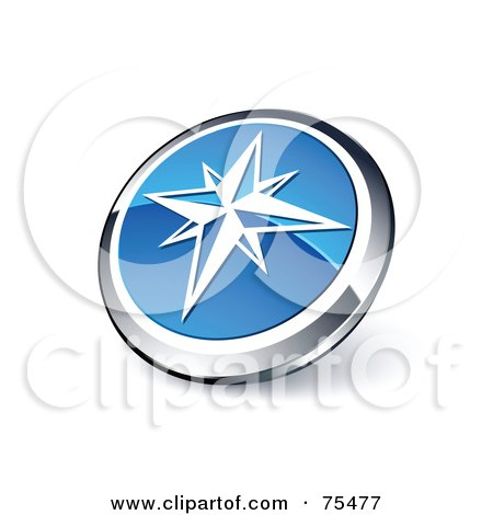 Royalty-Free (RF) Clipart Illustration Of A Round Blue And Chrome 3d Ice Star Web Site Button by beboy