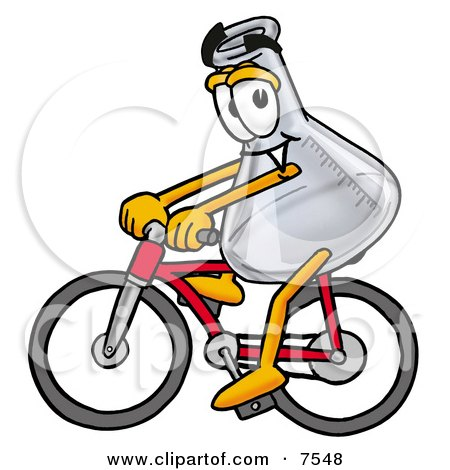 Clipart Picture of an Erlenmeyer Conical Laboratory Flask Beaker Mascot Cartoon Character Riding a Bicycle by Toons4Biz