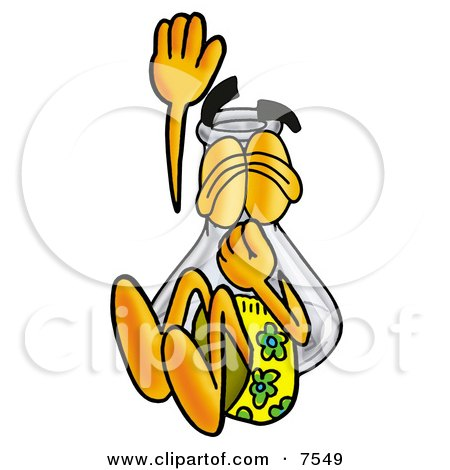 an Erlenmeyer Conical Laboratory Flask Beaker Mascot Cartoon Character Plugging His Nose While Jumping Into Water Posters, Art Prints