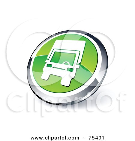 Royalty-Free (RF) Clipart Illustration Of A Round Green And Chrome 3d Delivery Truck Web Site Button by beboy