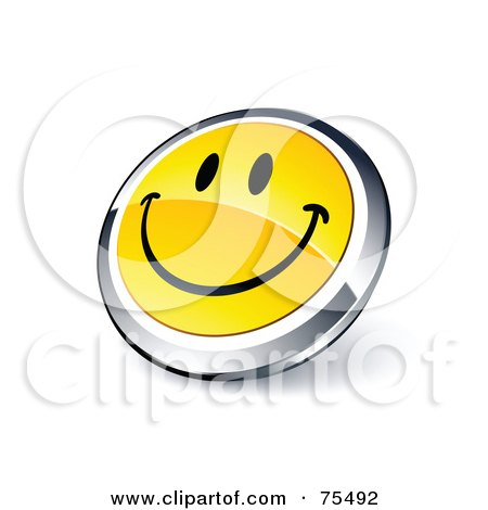 Royalty-Free (RF) Clipart Illustration Of A Round Yellow And Chrome 3d Happy Face Web Site Button by beboy