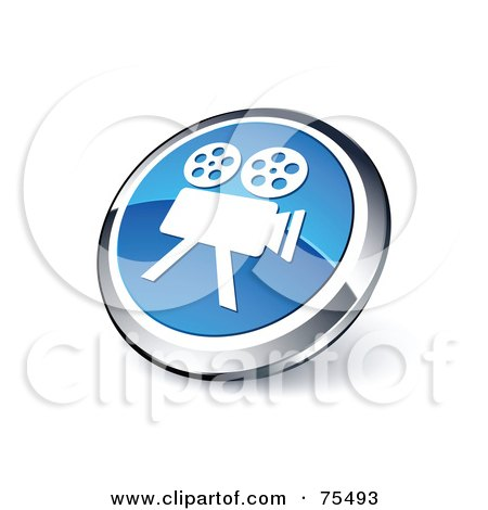 Royalty-Free (RF) Clipart Illustration Of A Round Blue And Chrome 3d Movie Camera Web Site Button by beboy