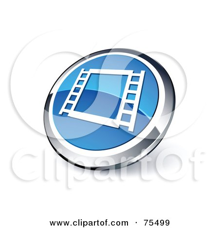 Royalty-Free (RF) Clipart Illustration Of A Round Blue And Chrome 3d Film Frame Web Site Button by beboy
