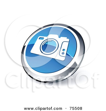 Royalty-Free (RF) Clipart Illustration Of A Round Blue And Chrome 3d Camera Web Site Button by beboy