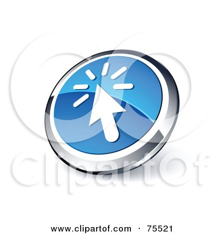 Royalty-Free (RF) Clipart Illustration Of A Round Blue And Chrome 3d Clicking Cursor Web Site Button by beboy