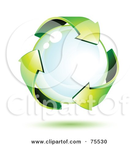 Royalty-Free (RF) Clipart Illustration of Three 3d Green Recycle Arrows Around A Bubble by beboy