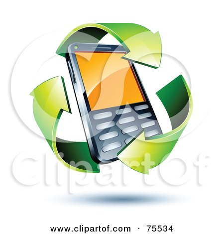 Royalty-Free (RF) Clipart Illustration of Three 3d Green Recycle Arrows Around A Cell Phone by beboy
