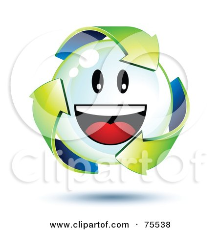 Royalty-Free (RF) Clipart Illustration of 3d Green Recycle Arrows Around A Smiley Face Bubble by beboy