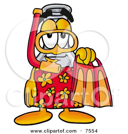 an Erlenmeyer Conical Laboratory Flask Beaker Mascot Cartoon Character in Orange and Red Snorkel Gear Posters, Art Prints