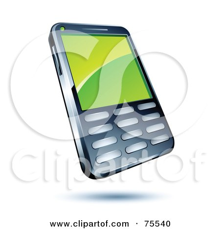 Royalty-Free (RF) Clipart Illustration of a Green Screen On A Modern Cell Phone by beboy