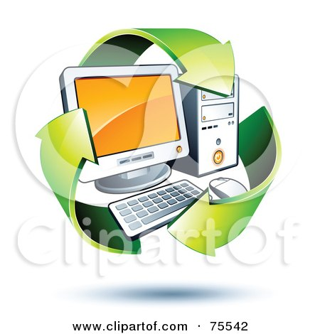 Royalty-Free (RF) Clipart Illustration of Three 3d Green Recycle Arrows Around A PC by beboy